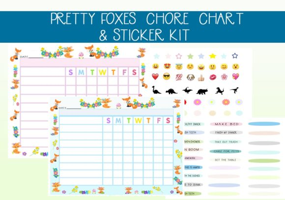 Print on Demand: Adorable Foxes Chore Chart  & Stickers Graphic Print Templates By capeairforce