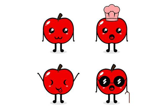 Download Free Apple Mascot Set Graphic By Masyafi Creative Studio Creative for Cricut Explore, Silhouette and other cutting machines.