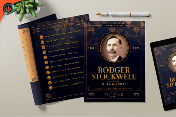 Download Free Art Deco Funeral Program Graphic By Seraphimchris Creative Fabrica for Cricut Explore, Silhouette and other cutting machines.
