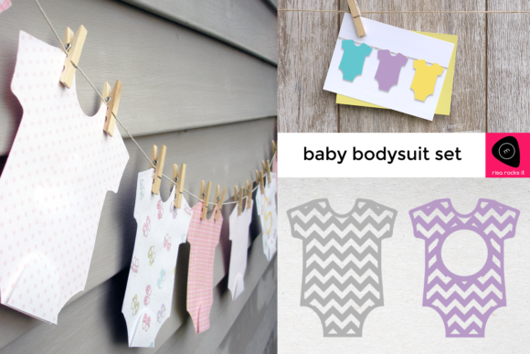 Baby Bodysuit Set Graphic Crafts By RisaRocksIt