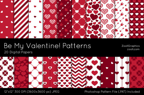 Be My Valentine Digital Papers Graphic Patterns By ZoollGraphics