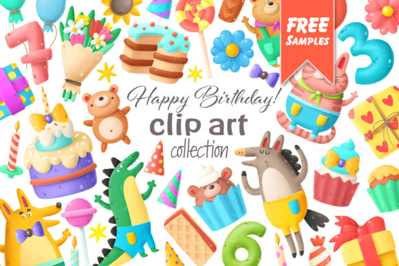 Download Free Birthday Clipart Bundle Graphic By Architekt At Creative Fabrica for Cricut Explore, Silhouette and other cutting machines.