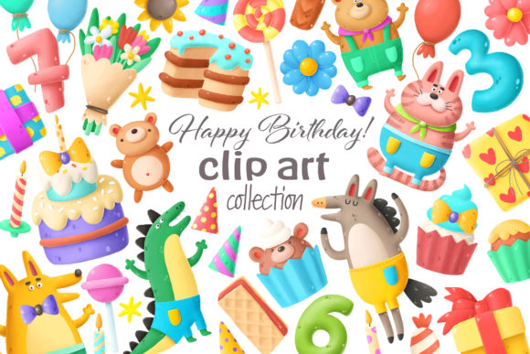 Print on Demand: Birthday Clipart Bundle Graphic Illustrations By Architekt_AT - Image 6