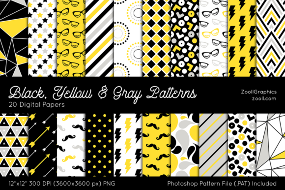 Black, Yellow & Gray Digital Papers Graphic Patterns By ZoollGraphics