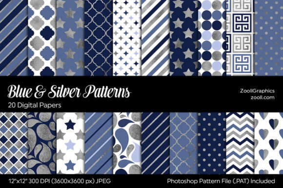Blue & Silver Digital Papers Gráfico Moldes Por ZoollGraphics