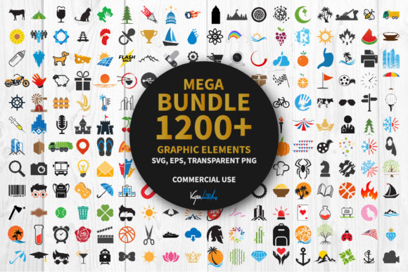 Print on Demand: Bundle 1200 Graphic Elements Clipart Svg Grafik Icons von vectorbundles