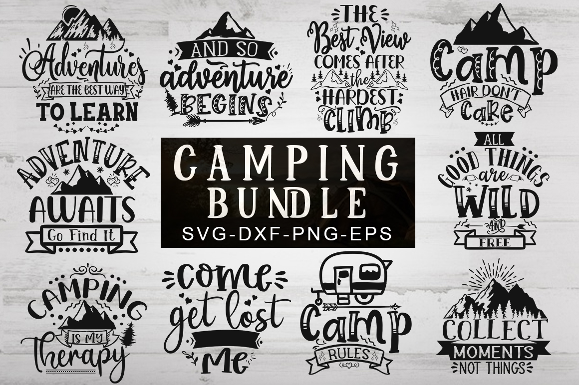 Download Free Camping Bundle Graphic By Designdealy Com Creative Fabrica for Cricut Explore, Silhouette and other cutting machines.