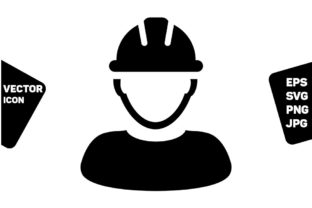 Print on Demand: Contractor Icon Vector Male Worker Graphic Icons By TukTuk Design