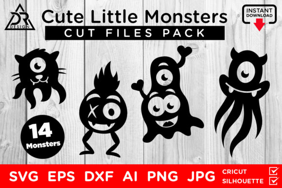 Download Free Cute Little Monsters Pack Graphic By Davidrockdesign Creative for Cricut Explore, Silhouette and other cutting machines.