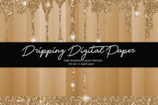 Dripping Glitter Digital Paper Graphic Textures By DAYDESIGN