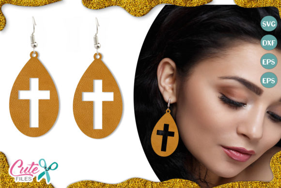 Earring Template with Cross Graphic Illustrations By Cute files