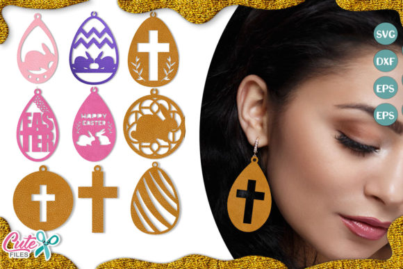 Download Free Easter Earring Template Bundle Grafico Por Cute Files Creative for Cricut Explore, Silhouette and other cutting machines.