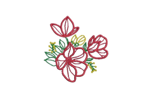 Flower Embellishment Design Outline Outline Flowers Embroidery Design By Embroidery Designs