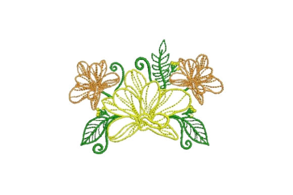 Flower Embellishment Outline 1 Outline Flowers Embroidery Design By Embroidery Designs - Image 1