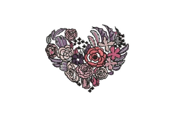 Flower Heart Valentine's Day Embroidery Design By Embroidery Designs