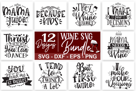 Download Free Funny Wine Quotes Bundle Graphic By Designdealy Com Creative for Cricut Explore, Silhouette and other cutting machines.
