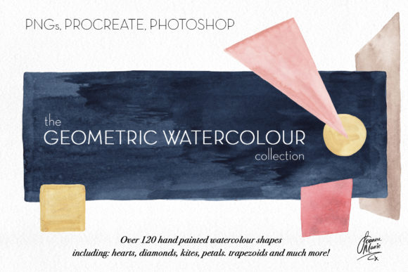 Geometric Watercolors Graphic Objects By joanne.hewitt