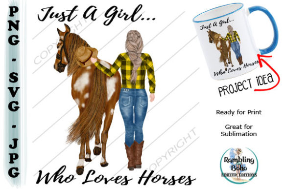 Girl Who Loves Horses Grafik Illustrationen von RamblingBoho