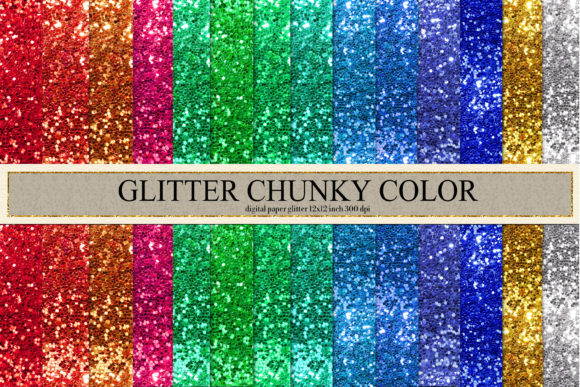 Print on Demand: Glitter Chunky Digital Paper Graphic Backgrounds By TheRoseMind