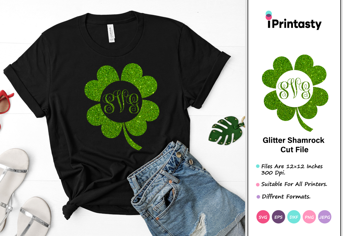 Download Free Glitter Shamrock St Patrick S Day Graphic By Iprintasty for Cricut Explore, Silhouette and other cutting machines.