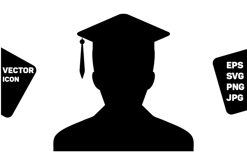 Download Free Graduation Icon Vector Male Student Graphic By Tuktuk Design for Cricut Explore, Silhouette and other cutting machines.