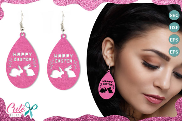 Happy Easter Earring Template Graphic Illustrations By Cute files