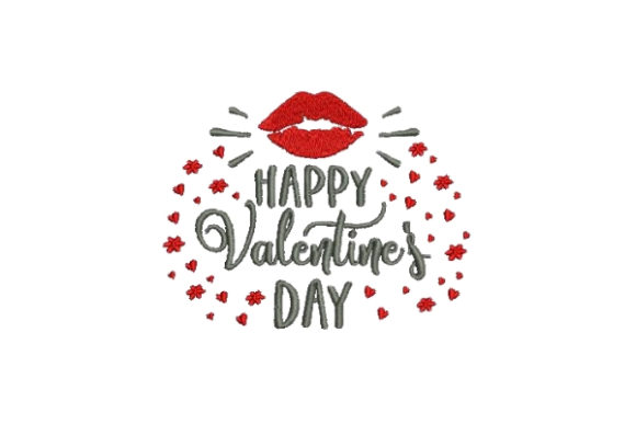 Happy Valentines Valentine's Day Embroidery Design By Embroidery Designs - Image 1