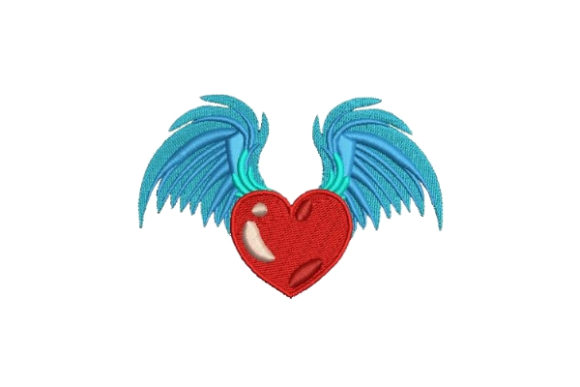 Heart with Wings Valentine's Day Embroidery Design By Embroidery Designs