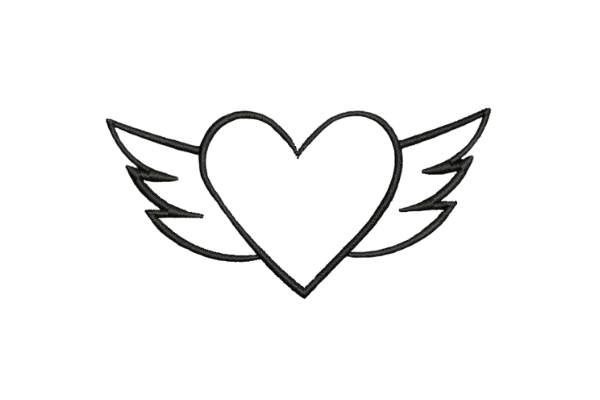 Download Free Heart With Wings Line Art Creative Fabrica for Cricut Explore, Silhouette and other cutting machines.