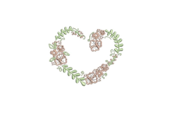 Heartshaped Flower Wreath Floral Wreaths Embroidery Design By Embroidery Designs - Image 1