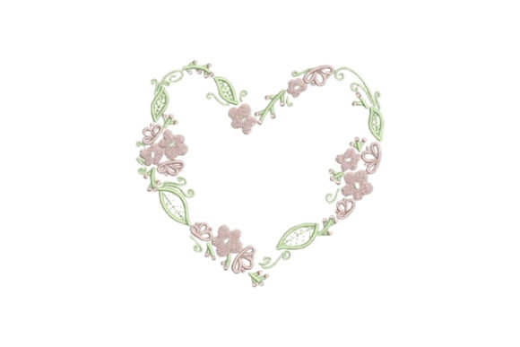 Heartshaped Pink Flower Wreath Floral Wreaths Embroidery Design By Embroidery Designs - Image 1