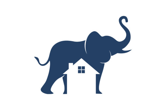 Download Free House Logo Elephant Graphic By Skyacegraphic0220 Creative Fabrica for Cricut Explore, Silhouette and other cutting machines.