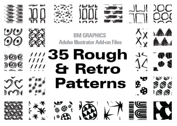 Print on Demand: Illustrator 35 Rough & Retro Graphic Patterns By GraphicsBam Fonts