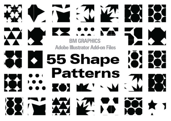 Print on Demand: Illustrator 55 Pattern Shapes Graphic Patterns By GraphicsBam Fonts