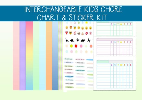 Print on Demand: Interchangeable Chort Set with Stickers Graphic Print Templates By capeairforce