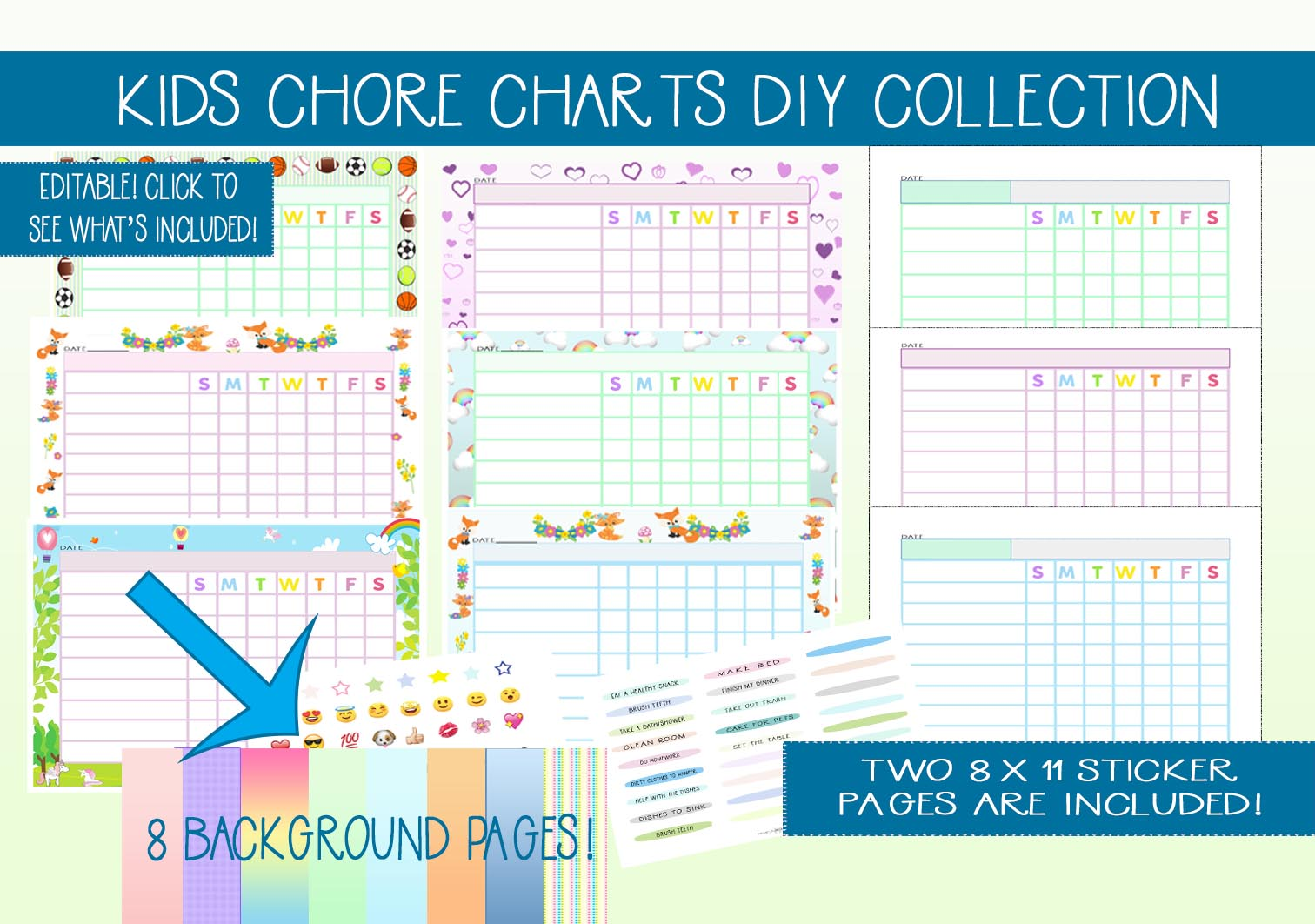 Download Free Kids Diy Chore Chart Collection Kit Graphic By Capeairforce SVG Cut Files