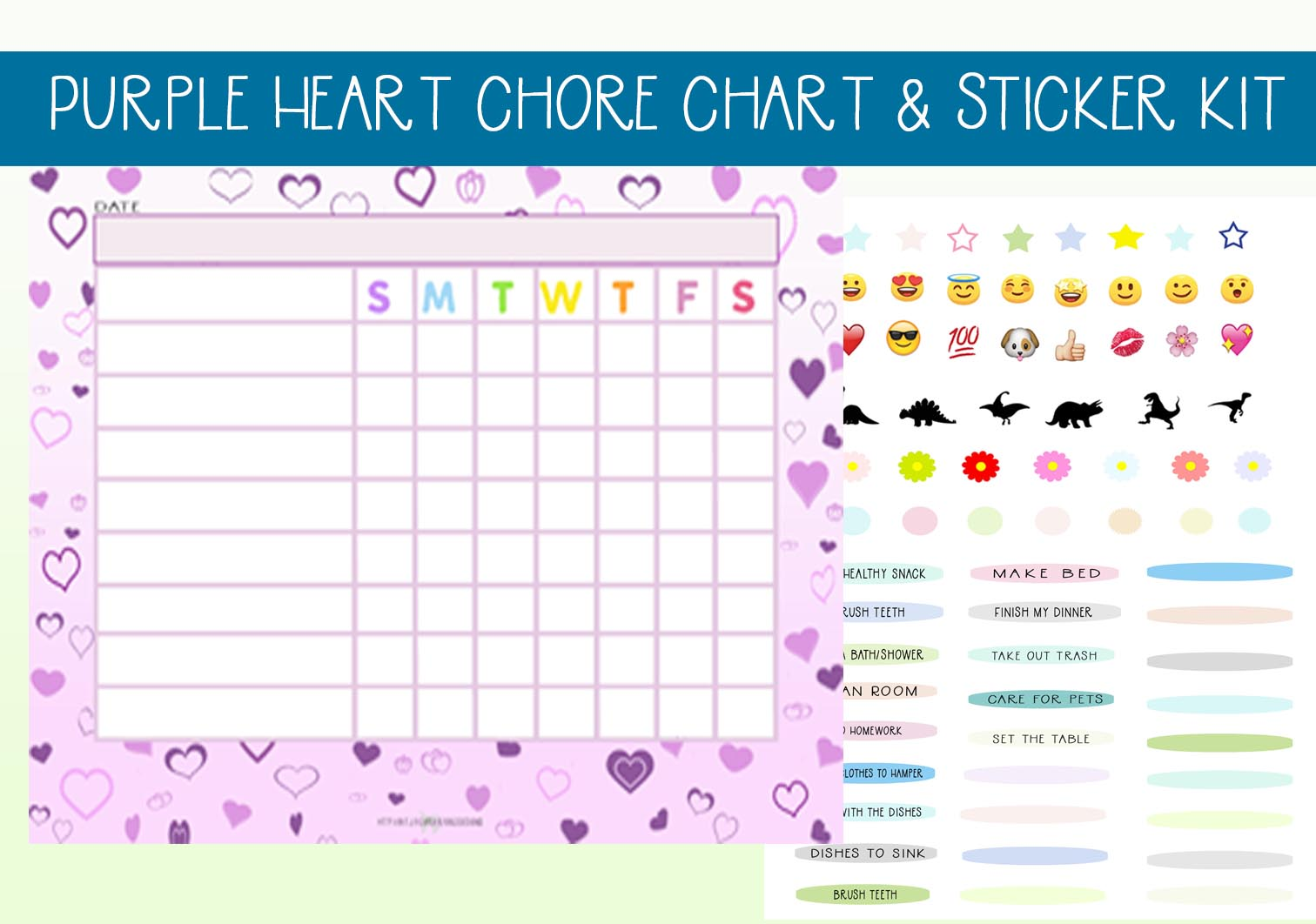 Download Free Lavender Heart Chore Chart Set Graphic By Capeairforce for Cricut Explore, Silhouette and other cutting machines.