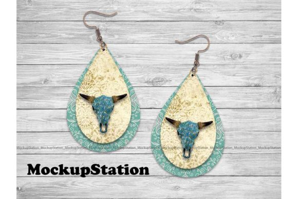 Print on Demand: Longhorn Earring Sublimation Graphic Print Templates By Mockup Station