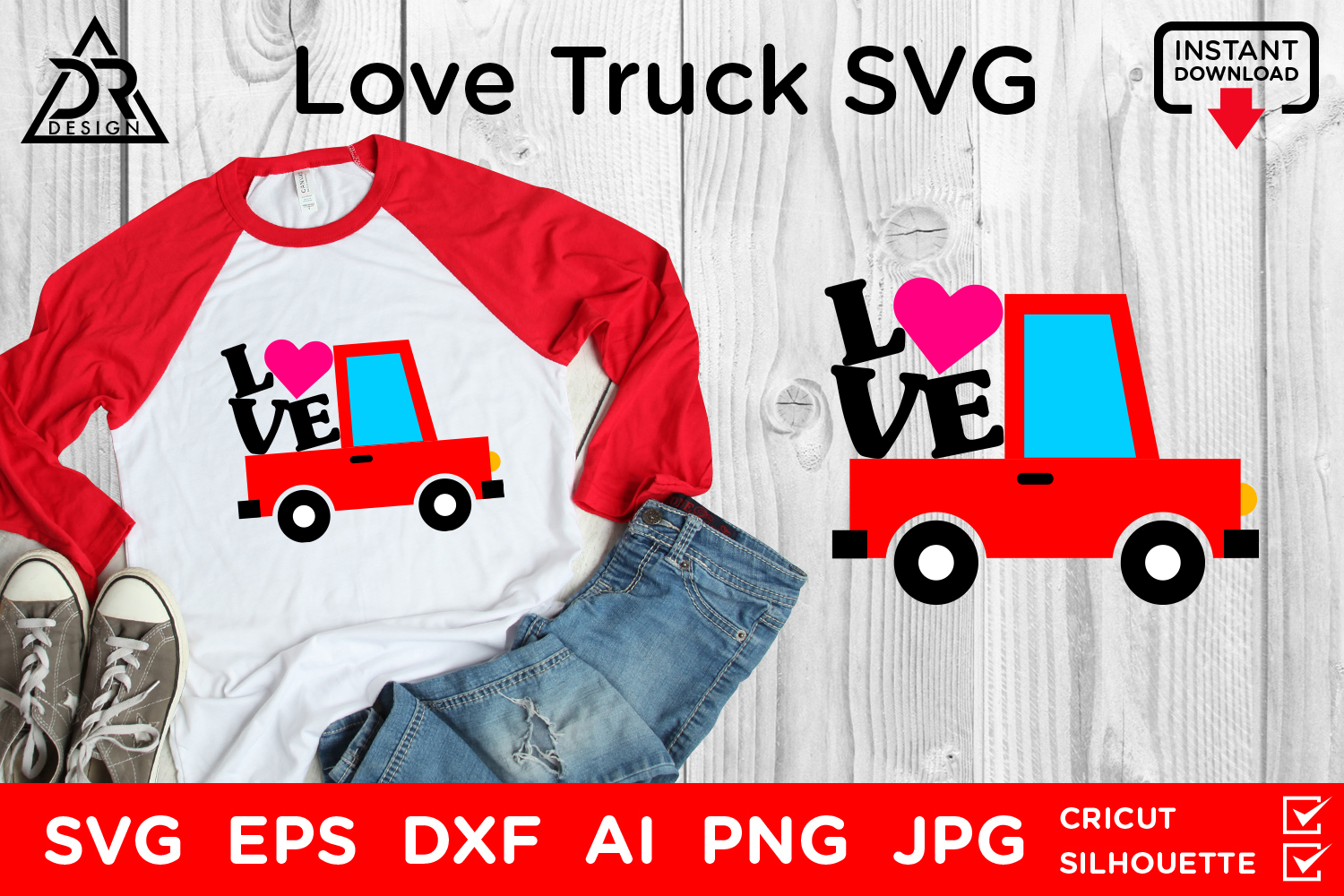 Download Free Love Truck Graphic By Davidrockdesign Creative Fabrica for Cricut Explore, Silhouette and other cutting machines.
