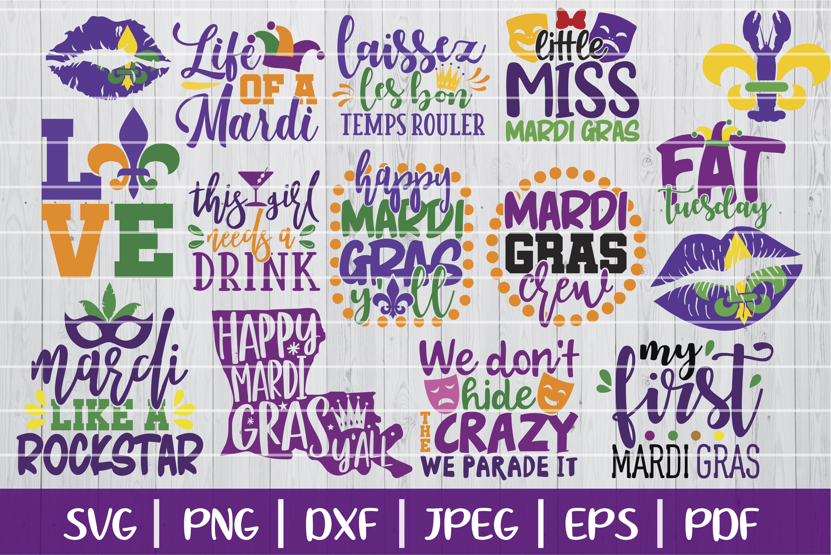 Download Free Mardi Gras Bundle Graphic By Seventhheaven Studios Creative for Cricut Explore, Silhouette and other cutting machines.