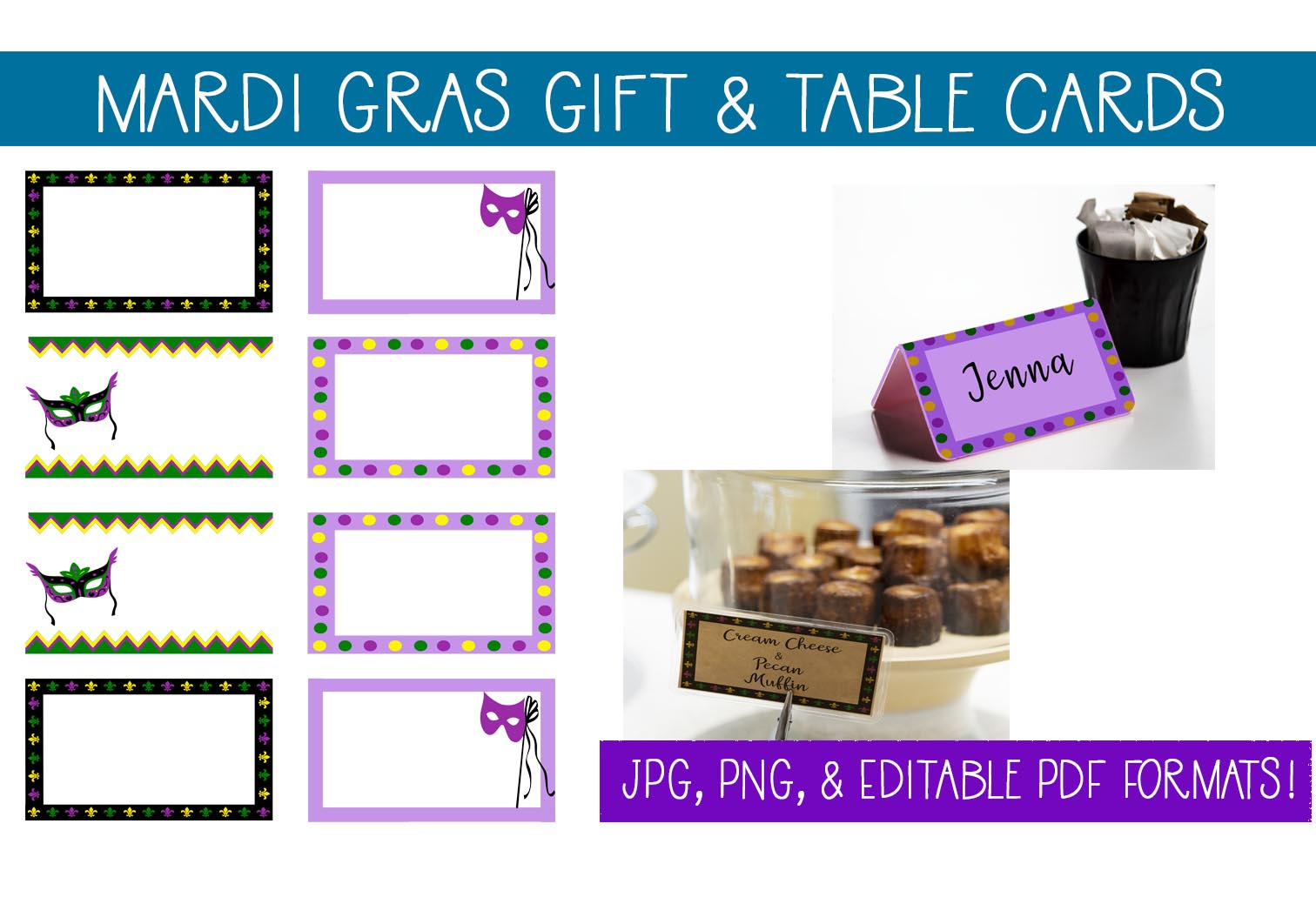 Download Free Mardi Gras Gift Card Table Cards Graphic By Capeairforce for Cricut Explore, Silhouette and other cutting machines.
