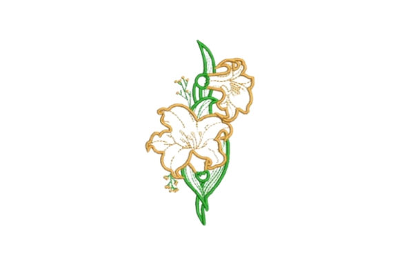Orange Flowers Embellishment Outline Outline Flowers Embroidery Design By Embroidery Designs