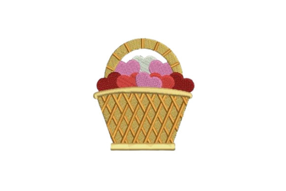 Picnic Basket Full of Hearts Valentine's Day Embroidery Design By Embroidery Designs