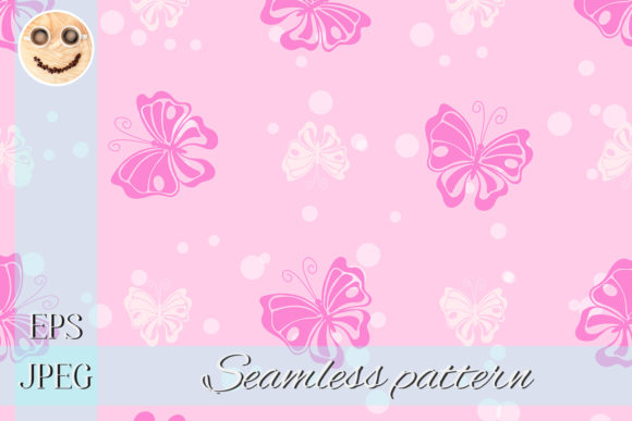 Print on Demand: Pink Butterfly White Ink Drops Graphic Patterns By TasiPas