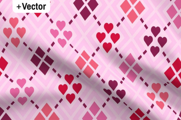 Download Free Pink Hearts Argyle Check Pattern Graphic By Dana Du Design for Cricut Explore, Silhouette and other cutting machines.