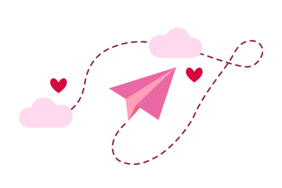 Download Free Pink Paper Plane Hearts Graphic By Dana Du Design Creative for Cricut Explore, Silhouette and other cutting machines.