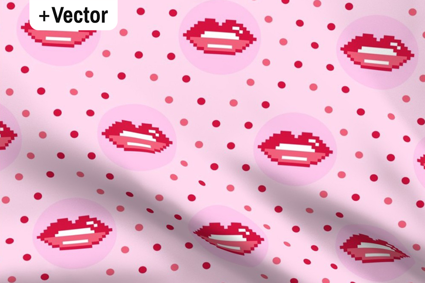 Download Free Pink Vintage Pixel Lips Pattern Graphic By Dana Du Design for Cricut Explore, Silhouette and other cutting machines.