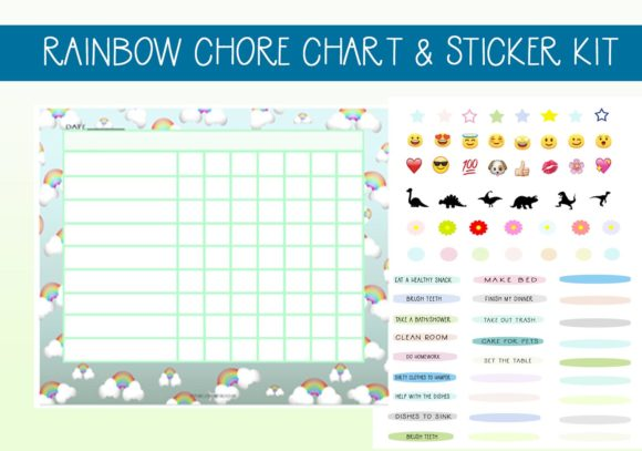 Print on Demand: Rainbow & Clouds Chore Chart W/ Stickers Graphic Print Templates By capeairforce - Image 1