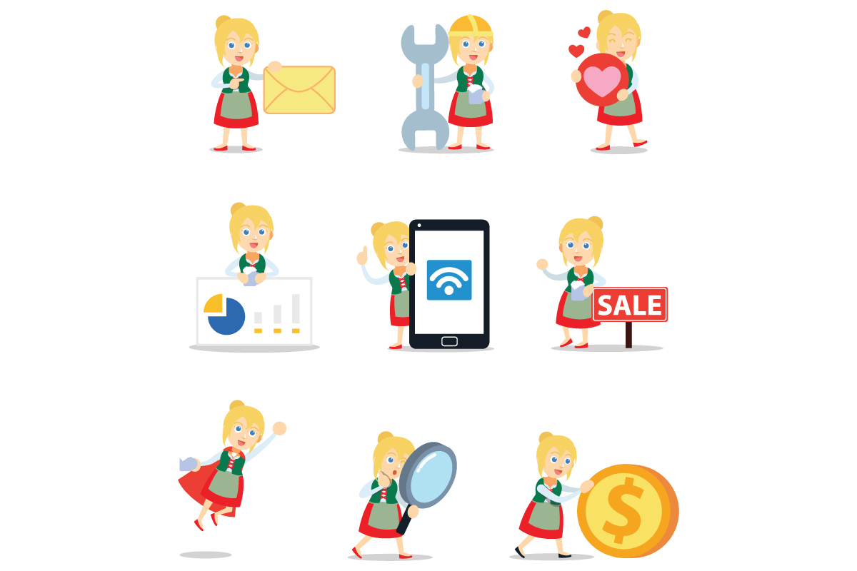 Download Free Set Of Character Bavarian Woman Graphic By Cloudvector15 Creative Fabrica for Cricut Explore, Silhouette and other cutting machines.