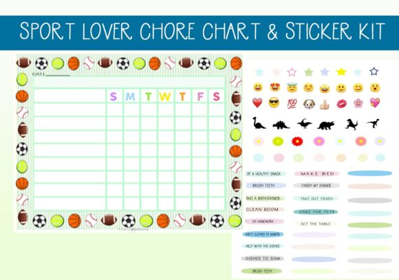 Print on Demand: Sport Balls Chore Set with Stickers Graphic Print Templates By capeairforce - Image 1